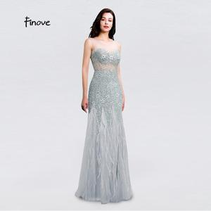 Image 3 - New Arrival Long Evening Dresses 2020 Short Sleeves with Beaded Feather Floor Length Mermaid Prom Dress scoop neck vestid