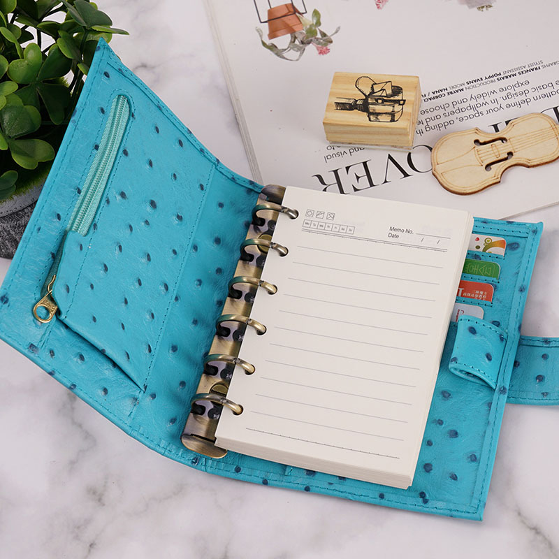Monogrammed Letters Porfolio Genuine Leather Ostrich,Crocodile Pattern NoteBook Case Business Office Simple Notepad Document Bag