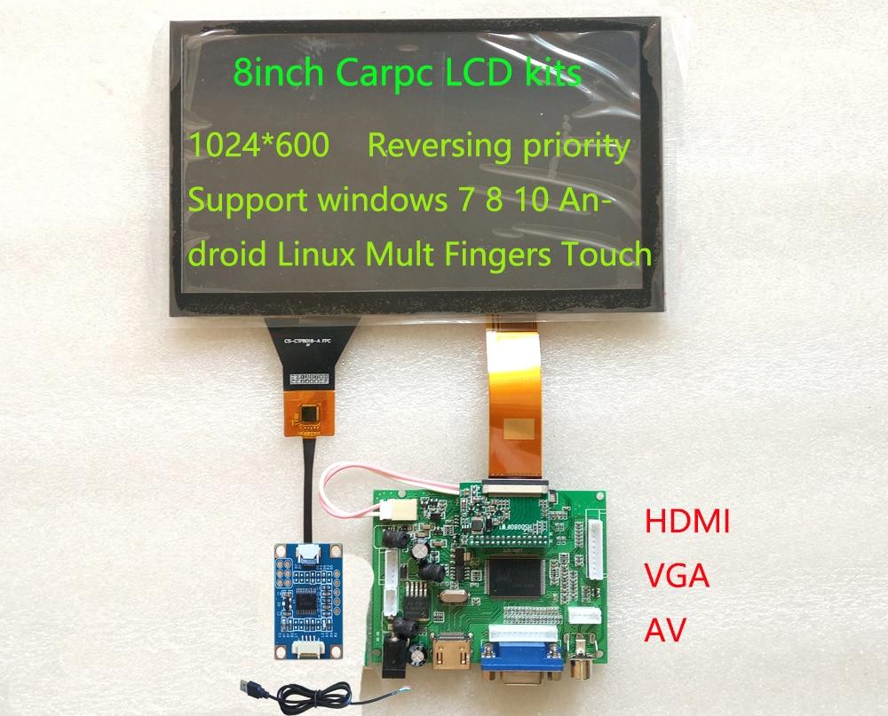 HSD080IFW1-A00 de 8 pulgadas con resolución de 1024x600, 600 de brillo, LCD de navegación para Carpc, con placa controladora táctil, Android y windows