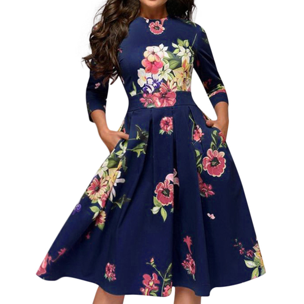 Autumn Dress Plus Size 3XL Women HOT Selling Elegent A-line Vintage Printing Floral O-Neck Party Vestidos Dress Freeship платье