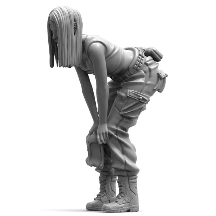 1//24 Tokyo Girl Resin Figure Woman In Action Soldier Statue Unpainted Garage Kit