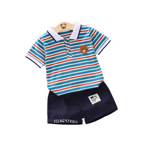 Boys' Suit Children's Striped Short-sleeved T-shirt Baby Children's Cotton Shorts Two-piece Set 1-4 Years Old стоимость