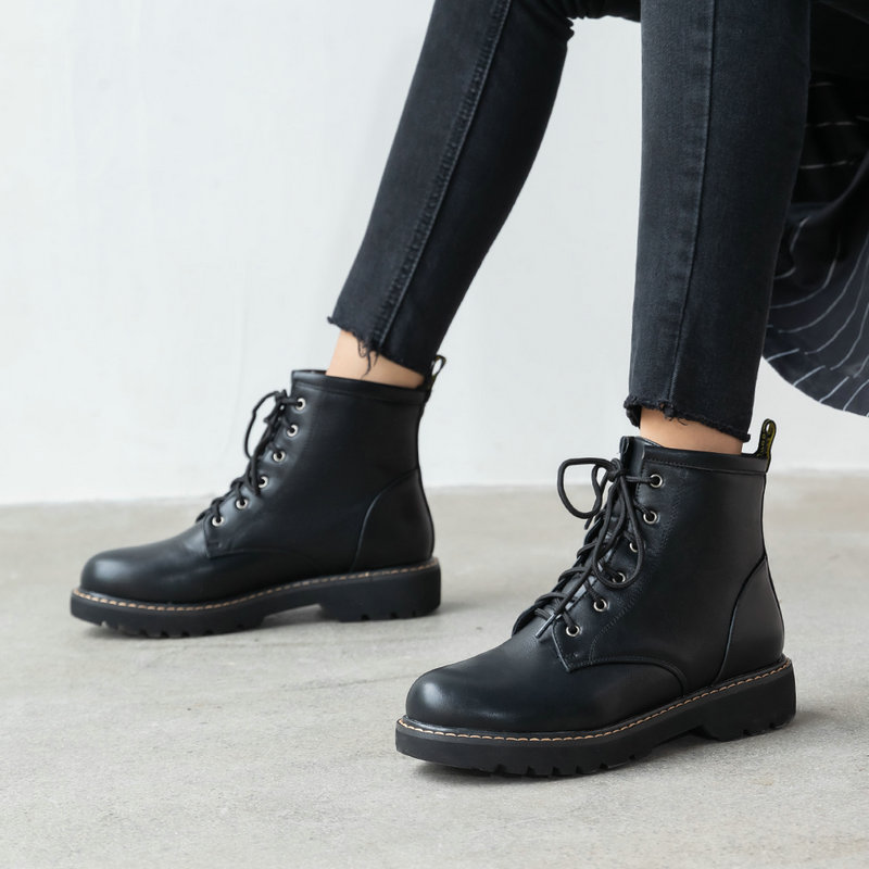 Flat Low Women's Boots Soft Pu Leather