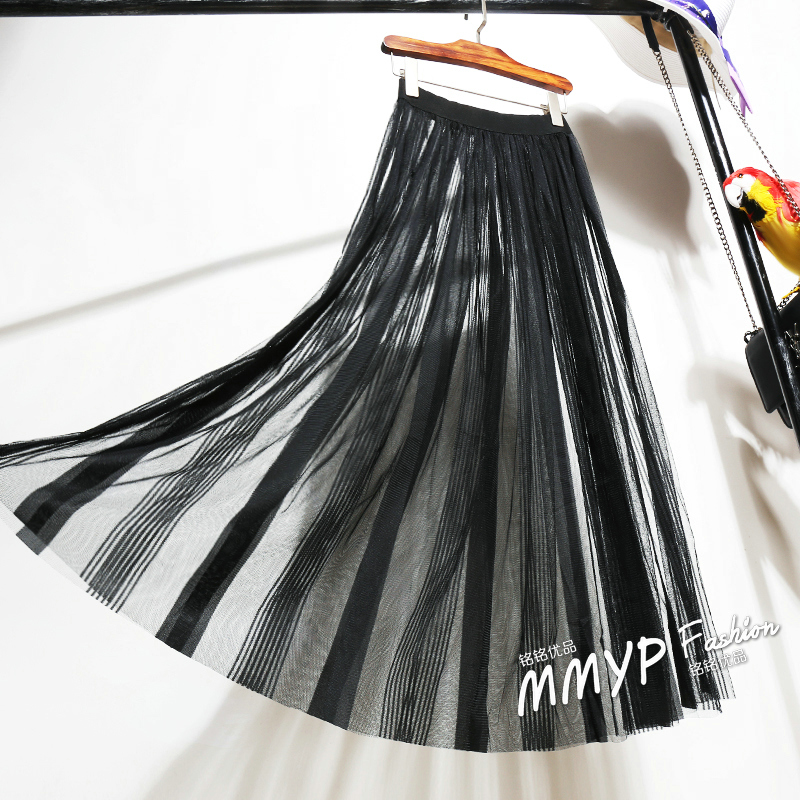 Spring Summer Women Lace Mesh Tulle Skirt Transparent High Waist A-line Vintage Casual  Sexy White Black Striped Long Skirt D168