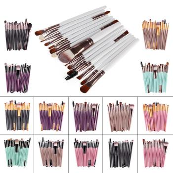 20set/lot 15pcs/set Multi Super Soft Moire Cosmetic Brush Suit Synthetic Fiber Eye Makeup Appliances