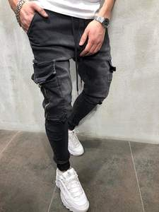 Skinny Jeans Trousers Pencil-Pants Stretchy Hip-Hop Zipper Casual Pocket Men