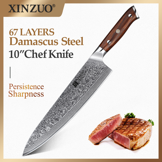 XINZUO 10 인치 요리사 칼 일본 다마스커스 강철 부엌 칼 호텔과 레스토랑을위한 최고의 품질 전문 Gyuto 칼