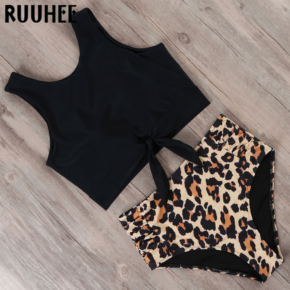 RUUHEE Swimsuit Women Bikini 2019 mujer Swimwear High Waist Bikini Set Sport Tops Bathing Suit Women Padded Beach Wear Biquinis 3