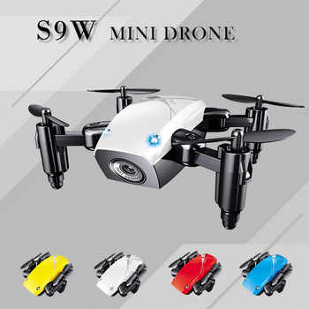 Mini Faltbarer Fern Quadcopter S9W HD WIFI Antenne Kamera Tasche Drone Kinder RC Hubschrauber Drone Spielzeug Für Kind Weihnachten