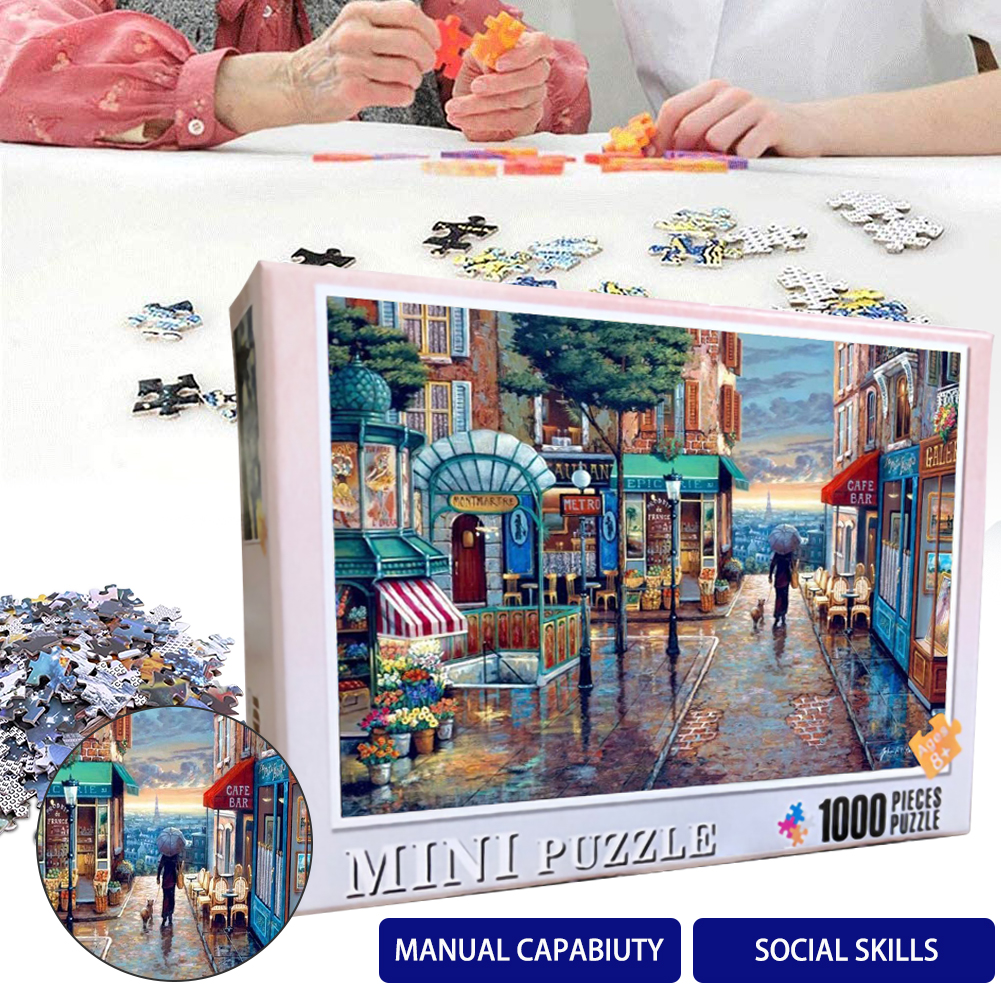Puzzles 1000Pieces For Adult Kids Romantic Town Wall Painting  Decoration Wooden Assembling Puzzles Jigsaw Educational Toys Game