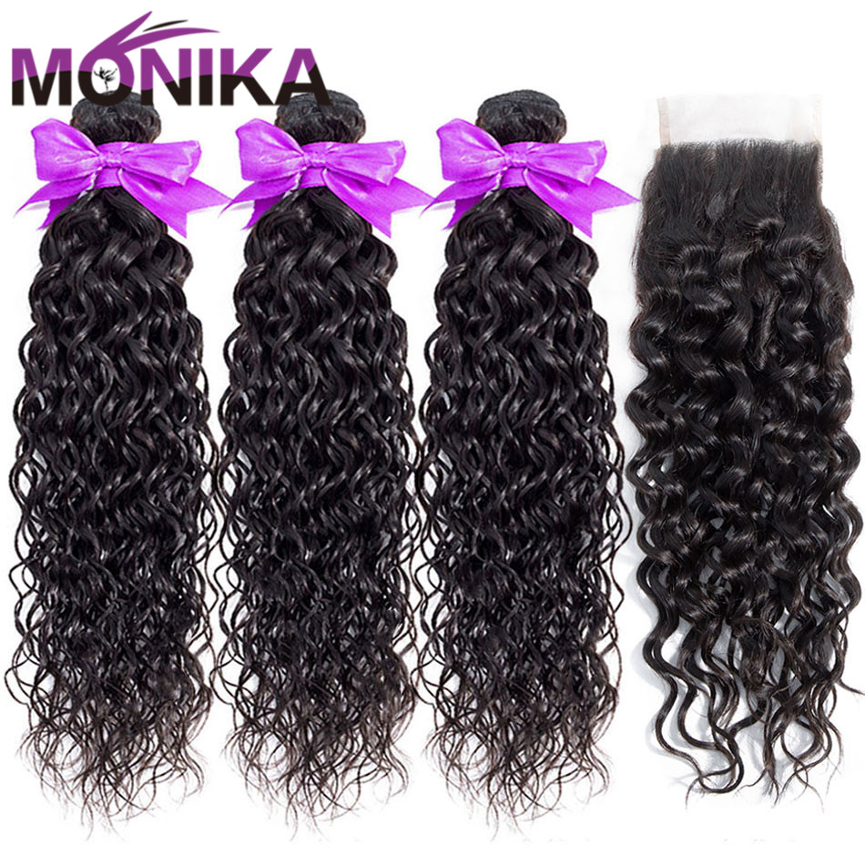 Monika Hair Brazilian Water Wave Bundles With Closure 30 Inch Bundles Human Hair With Closure Non-Remy Hair Closure With Bundles