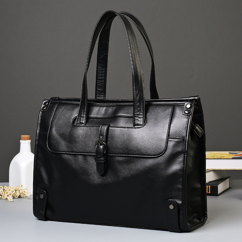 Cow Leather Men's Briefcase High Quality Real Cowskin Business Handbag Brand New Office Work Shoulder Bag Black