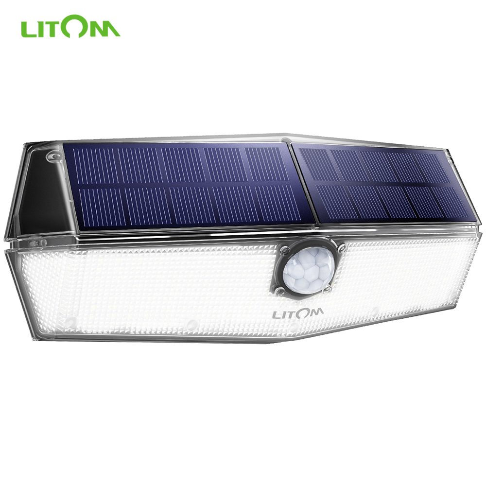 LITOM Solar Light Outdoor Super Bright 200 LED IPX7 Waterproof PIR Motion Sensor Lamp With 3 Lighting Modes Solar Garden Lights