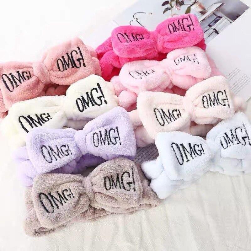 2020 Soft Coral Fleece Hairbands For Women Wash Face Makeup Turban Hair Accessories Cute Girls Bow Headbands Hair Bands