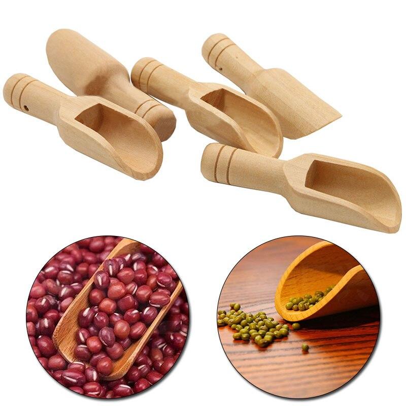 New home bath salt spoon tea Japanese small wooden spoon solid wood powder spoon measuring salt mini wooden spoon