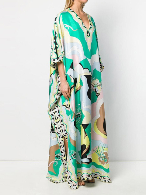 Retro Floral Print Elegant Maxi Dress Women 2021 Summer V-Neck Loose Long Boho Dresses Casual Female Split Dress Ladies Vestidos 3