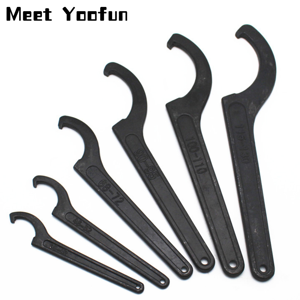 22-52mm Carbon Steel Crescent Hook Head Round Nut Spanner C Shape Wrench Tool Hand Tool 1pcs