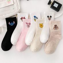 Disney и мультяшным принтом Микки и Минни, для женщин и девочек носки в японском; Мягкая женская обувь; Дышащие хлопковые носки короткие носки-б...
