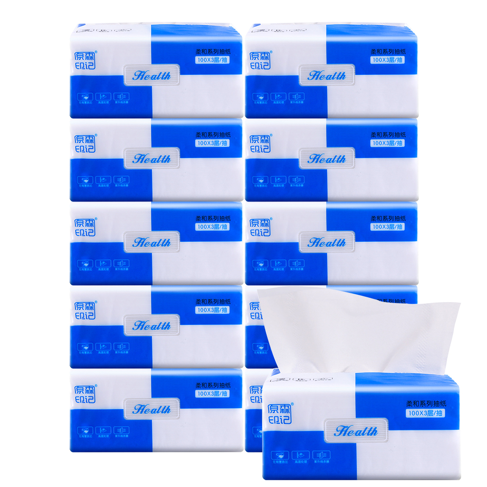 10packs Soft Skin Friendly Napkin Paper Toilet 300 Sheets Facial Tissues Household 3 Ply Restaurant Kitchen Wood Pulp Disposable