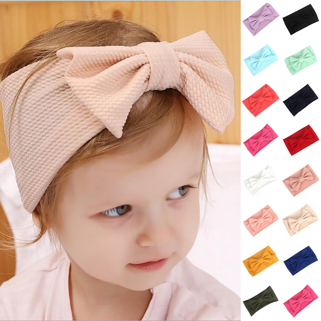 New Baby Toddler Bowknot Head Wraps Headwear Turban Bow Stretch Headband Gift