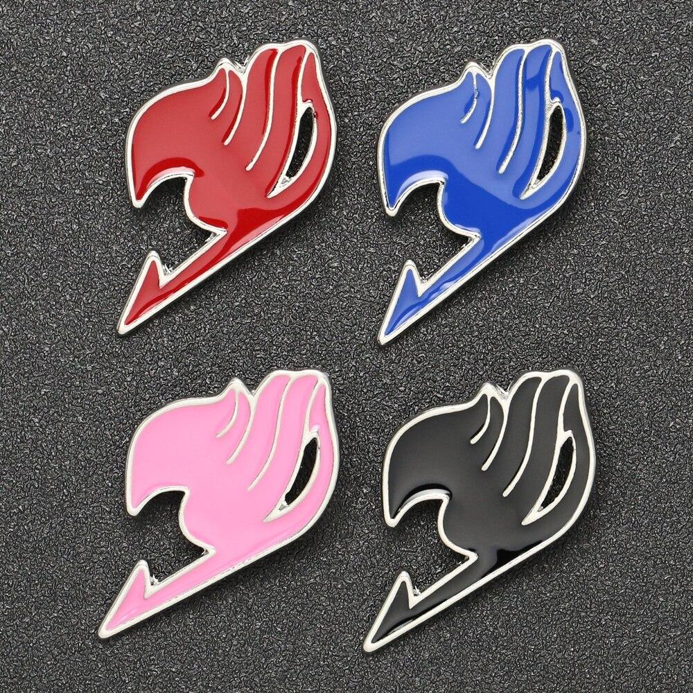 Broche de rabo de fadas, logotipo de culpa do natsu lucy feliz cinza azul vermelho preto esmalte jogo de fantasia atacado por atacado