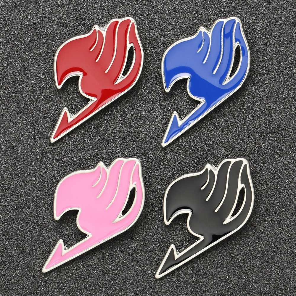Fairy tail broszka Pin Guild Logo tatuaż Natsu Lucy szczęśliwy szary niebieski czerwony czarna emalia odznaka gra Anime Fantasy biżuteria hurtowych