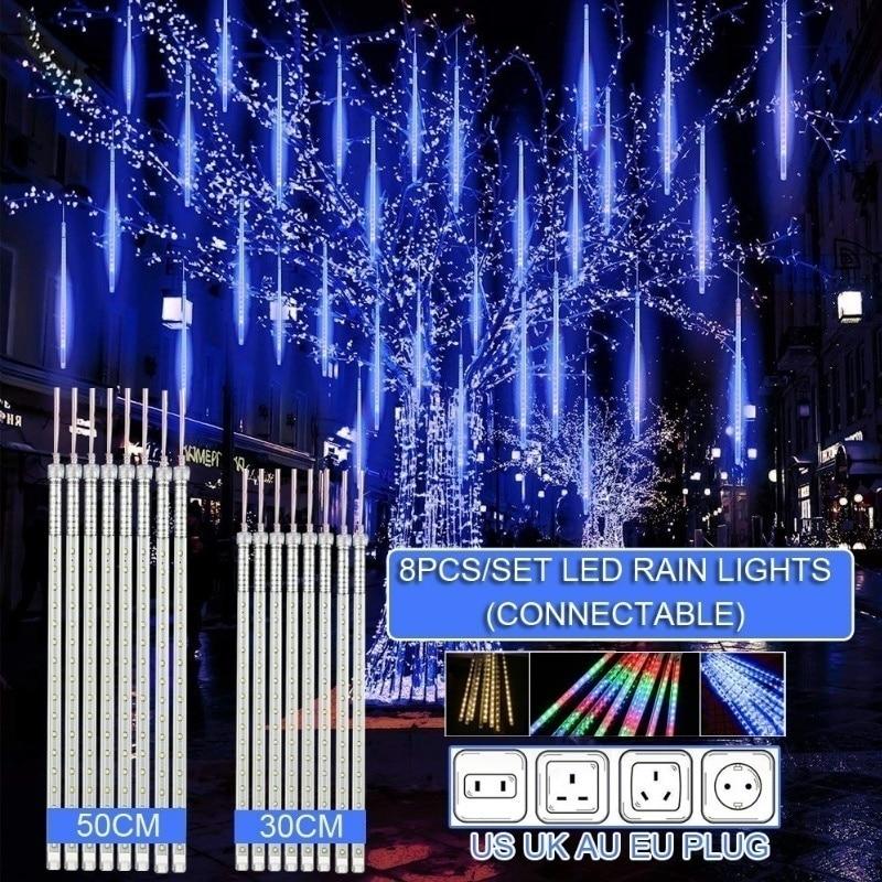 30cm /50cm Impermeabile Meteor Doccia a Pioggia Tubo 8 LED Luci Della Stringa Per Outdoor Vacanze Di Natale Decorazione Albero EU/US/AU/UK Spina