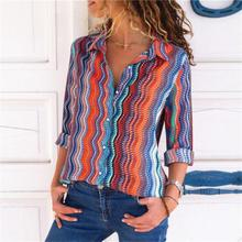 European and American style long sleeve chiffon blouse spring turn down collar slim office lady print chiffon female shirts