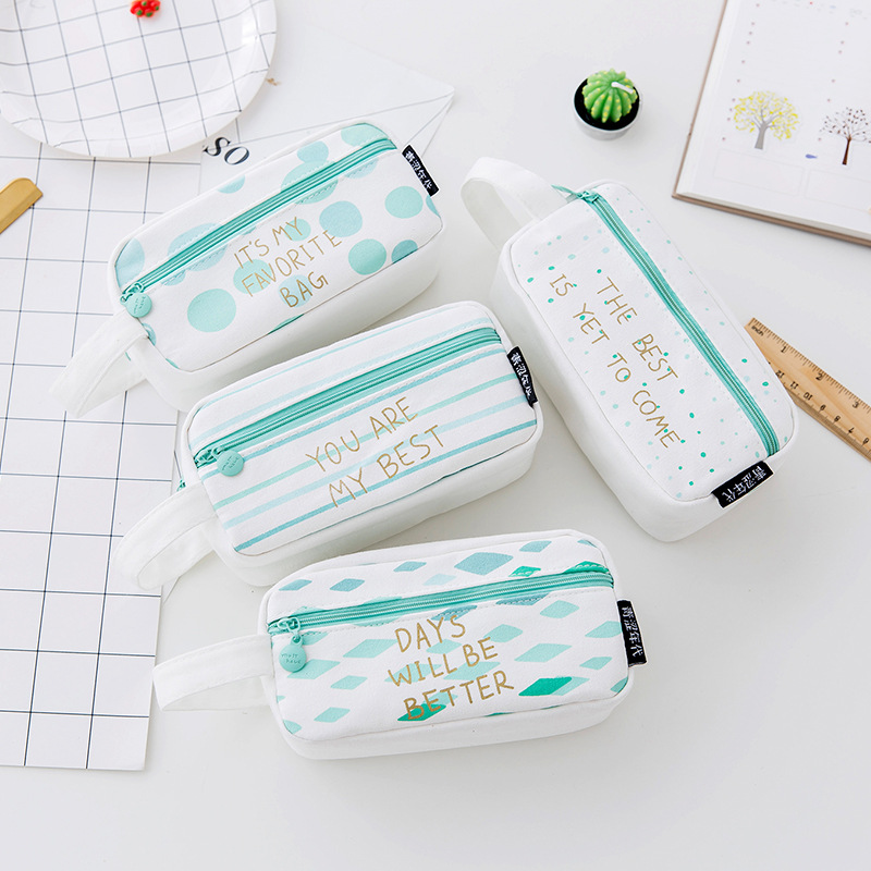 Korean explosions large capacity student supplies cute zipper pencil case canvas pencil case in Pencil Bags from Office School Supplies