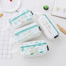 Korean explosions large capacity student supplies cute zipper pencil case canvas