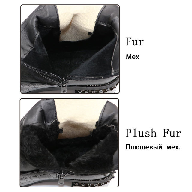 RIZABINA Plus Size 32-48 Women Winter Warm Knee High Boots Fashion Plaid Woman Shoes Zipper Beads Long Boots Ladies Footwear