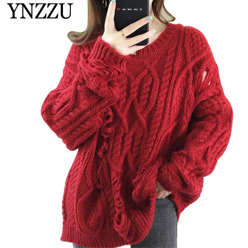 YNZZU Chic Hollow out Solid Girls Sweater O-neck Loose Long sleeve knitted Pullover tops 2019 Autumn Winter Women Jumper YT684