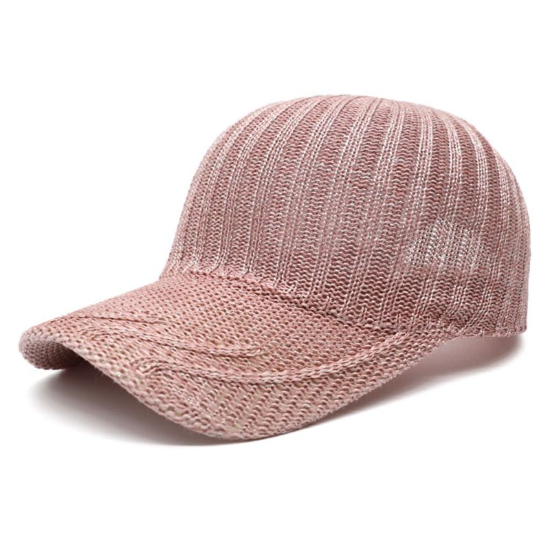 Women Mesh Summer Knitted Baseball Cap Breathable Mesh Solid Color Snapback Hat