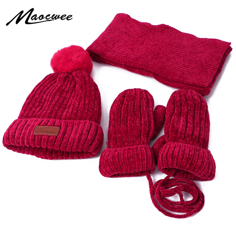 Kids Winter Pompom Beanie Hats Scarf Gloves Set Knitted Warm Thick Corchet Chenille Beanie And Scarf Mittens For Boys And Girls
