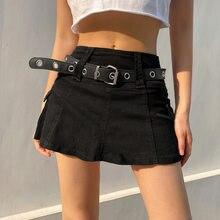 Rua cintura baixa preto mini saia denim gótico costura cor sólida bolsos laterais branco europeu e americano a-line saia