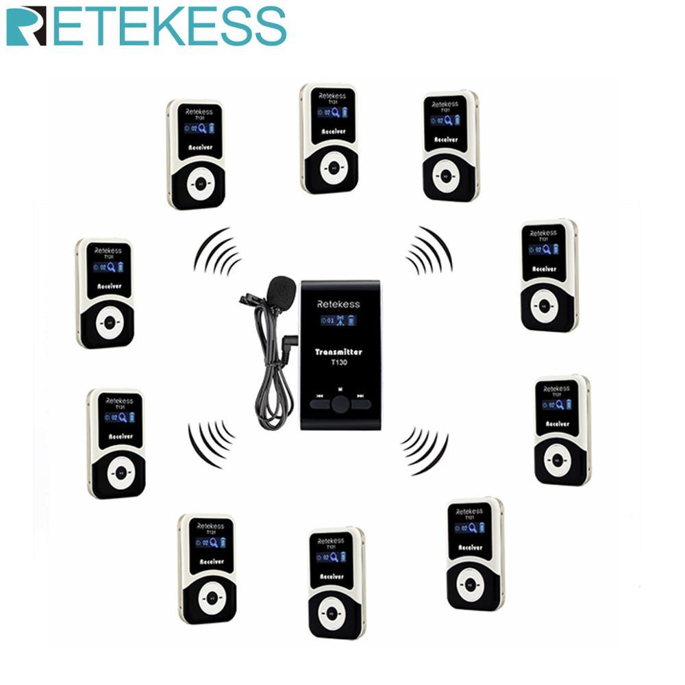 Retekess sistema de guia turístico sem fio 1 transmissor + 10 receptor t131 + mic para tour guiando interpretação de tradução simultânea