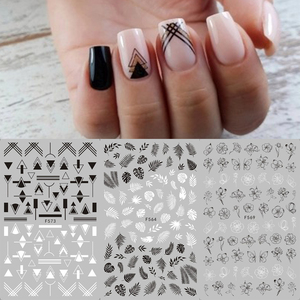 1 sheet Black White Flower Nail Sticker Mandala Tropical Leaf 3D Nail Sticker Geometry Adhesive Nail Decals Foil Design F564-573