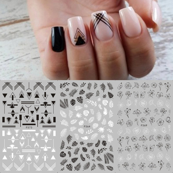 1 sheet Black White Flower Nail Sticker Mandala Tropical Leaf 3D Nail Sticker Geometry Adhesive Nail Decals Foil Design F564-573