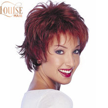 Louise Short Burgundy Wig Curly Synthetic Hair Women Wigs Red with Bangs Fluttty Straight Wig(China)