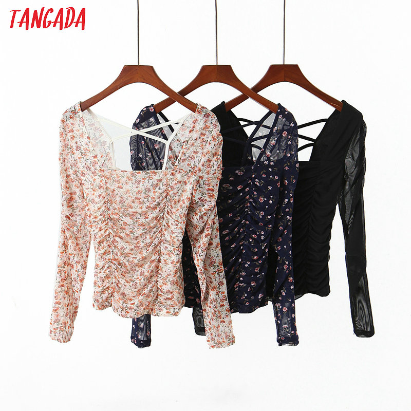 Tangada Women Retro Floral Print Pleated Blouse Backless Lace Up Long Sleeve Chic Female Sexy Shirt HY53