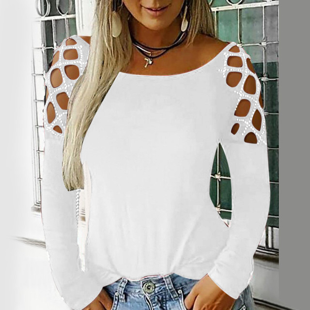 Women Sexy Top Hollow Out Long Sleeve Sequins Shirt Tops Female Shirt Top Spring Cropped Tops Fashion Summer Clothes