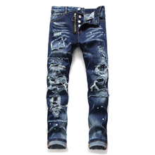 2021 new clothes splash paint fashion torn men's cat beard slim stretch European and American small feet trendy jeans