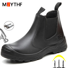 Work Safety Boots Genuine Leather Chelsea Boots Men Steel Toe Cap Work Shoes Indestructible Work Boots Waterproof Security Shoes