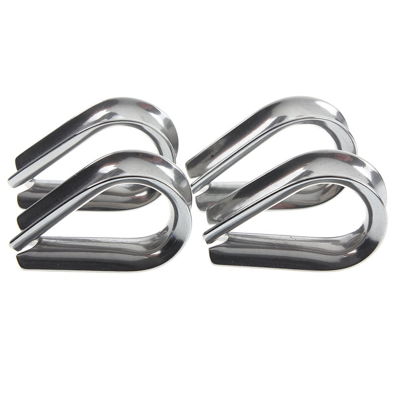 ABSF 4 X Stainless Steel - 3mm Wire Rope Loop Rope Thimbles