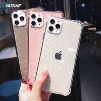 Funda de teléfono con purpurina brillante para iPhone, carcasa trasera suave y transparente para iPhone 12 Mini 11 Pro 11Pro Max X XR XS 6 6S 7 8 Plus SE 2020