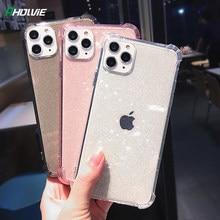 Étuis de téléphone à paillettes pour iPhone, coque arrière souple et transparente, brillance, accessoire mobile, couverture, 12 Mini 11 Pro 11 Pro Max X XR XS 6 6S 7 8 Plus SE, 2020