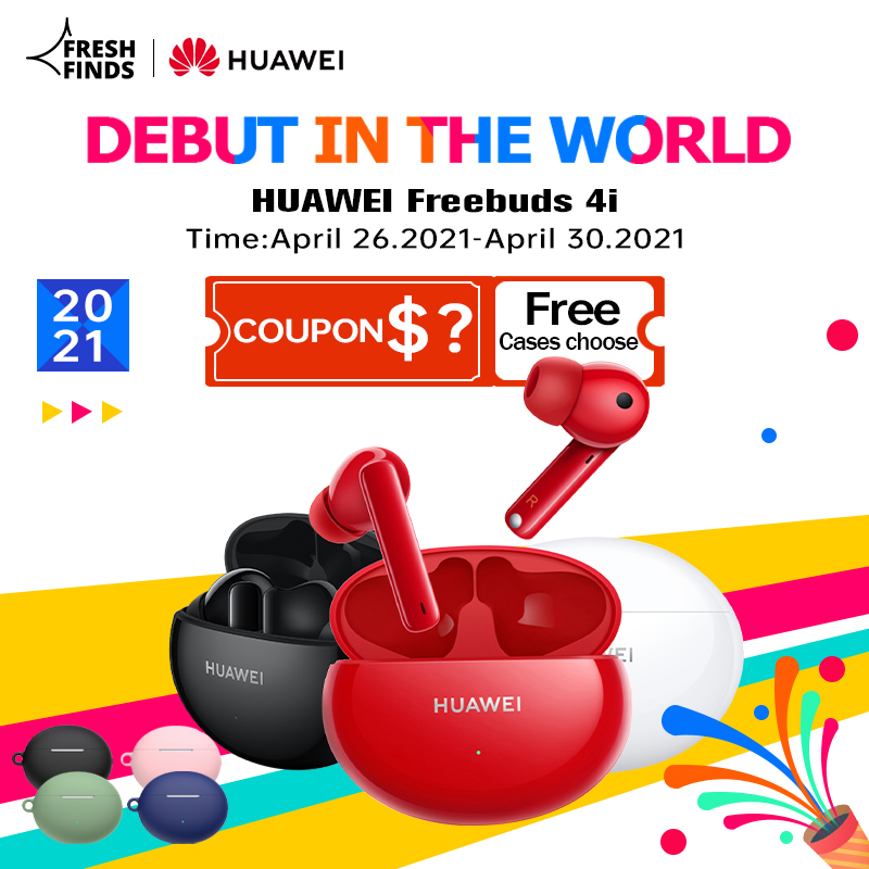DEBUT Global Huawei FreeBuds 4i 4 i Wireless Headphone Active Noise Call Reduction Bluetooth 5.2 Earphones Long Battery Life