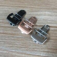 Hebilla de mariposa de acero inoxidable, 18mm, 20mm, Negro, Rosa, rosa, plateado, repuesto para cierre plegable de Richard, Mille RM