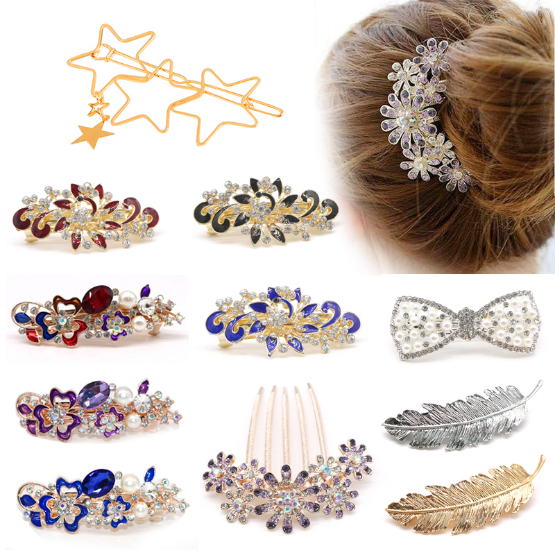 Fashion Rhinestone Hair Clips Crystal Hairclip Metal Ponytail Holder Hairpins Hairgrip Flower Hair Accessories For Women Girls