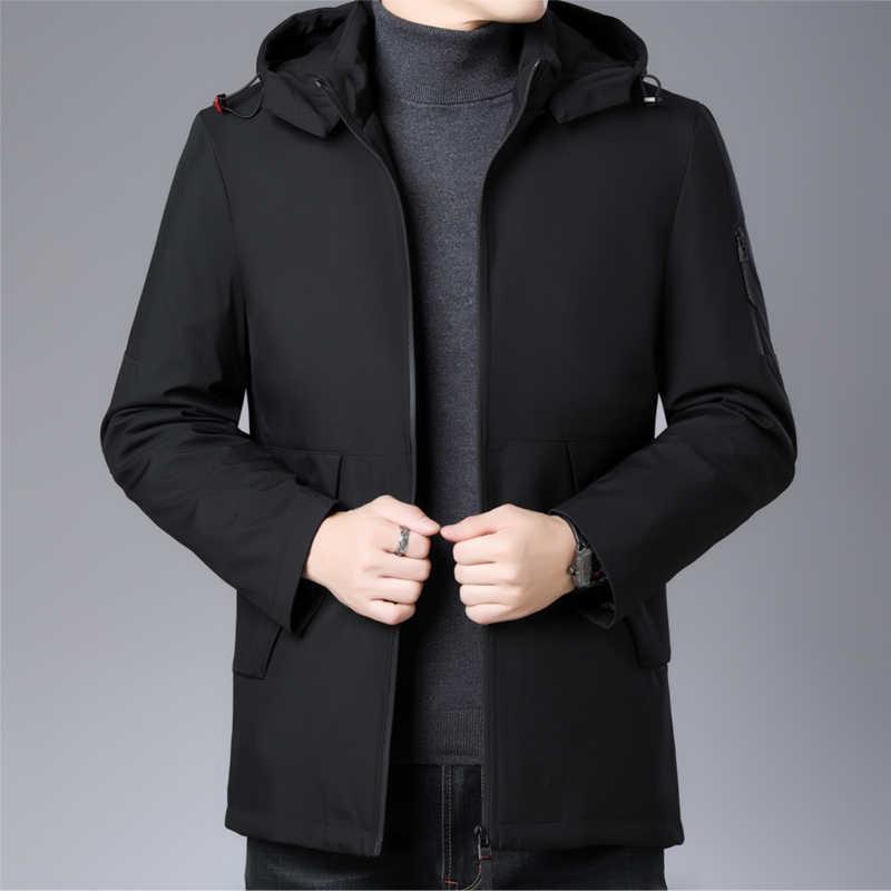 Высший сорт, 2019, зимние модные брендовые пуховики, мужские длинные уличные куртки с капюшоном, пуховое пальто, утиный пух, Теплая мужская одежда